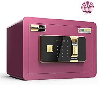 Electronic Digital Security Safe Box,35x25x25cm Biometric Fingerprint Home Steel Safe,LED Display,for Office Hotel Jewelry Gun Cash Medication,Pink