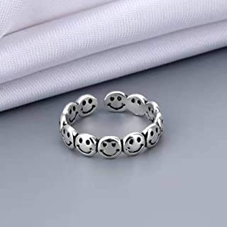 YERTTER Silver Happiness Smile Face Ring for Women Girls Statement Adjuastable Open Finger Ring for Valentine's Jewelry Bi...
