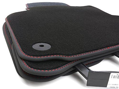 Fußmatten passend für Golf 5 Velours Automatten Premium 4-teilig schwarz Nubuk schwarz mit Ziernaht rot
