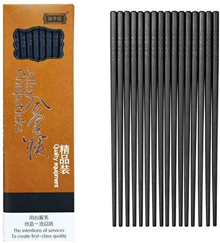 Palillos de fibra de vidrio de 10 pares: palillos reutilizables aptos para lavavajillas, 9 1/2 pulgadas (palillos de fibra de vidrio) (negro clásico)