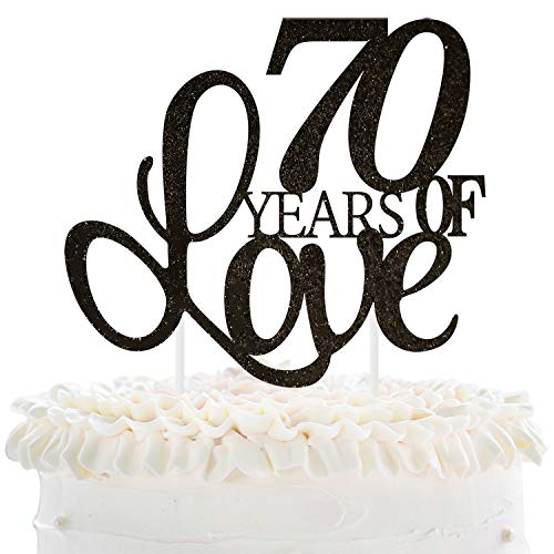 70 Years of Love Cake Topper 70th Happy Birthday Seventieth Wedding Anniversary Love Gifts Keepsake Party Decoration Supplies