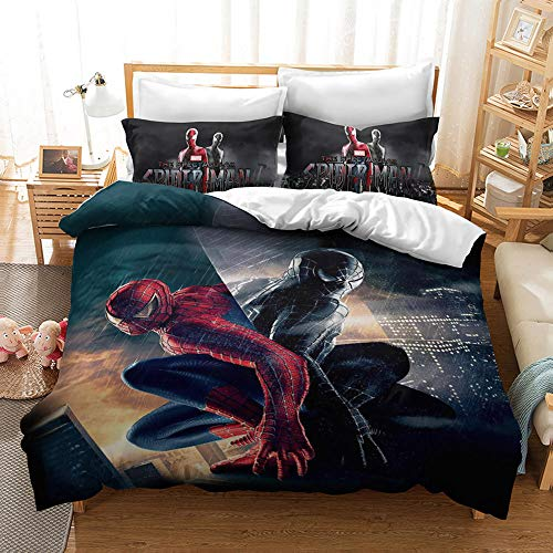 Juego de funda de edredón con estampado digital 3D, diseño de dibujos animados, juego de cama con funda de almohada, regalo para niños y adultos (E, doble 200 x 200 cm)