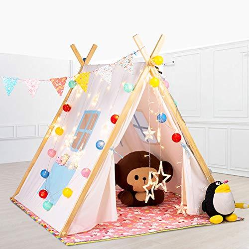 SSLW Kinder Zelt Indische Massivholz Stehzelt Indoor und Outdoor Schloss Spielzeug Spielhaus Geschenk (175 cm),Blue