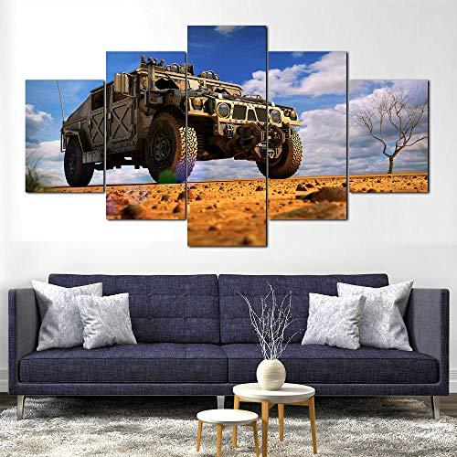 GHYTR 5 Piezas Lienzo del Vehículo del Camión De Hummer Enmarcado Impresión De La Lona Pintura Arte De La Pared Cartel Moderno Decoración del Hogar Sala De Estar Imágenes Navidad Regalos 150X80Cm