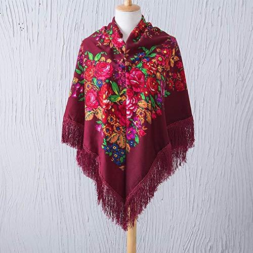 AG Cálido Grande Estilo de la Moda Bufanda Cuadrada Ruso Bufanda con Flecos Minoritarios Pañuelo para la Cabeza de la Flor de Las Mujeres Impresas,rojo,135 * 135