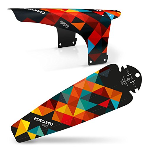 RideGuard MTB Mudguard Set Mountain Bike Bicycle Fender Front & Rear UK Made. (Geo Orange Set)