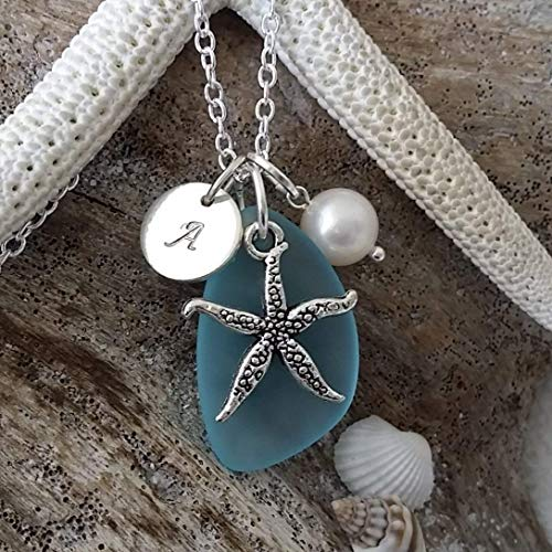 Handmade in Hawaii, Personalized Turquoise bay blue sea glass necklace, Starfish charm, Freshwater pearl, (Hawaii Gift Wrapped, Customizable Gift Message)