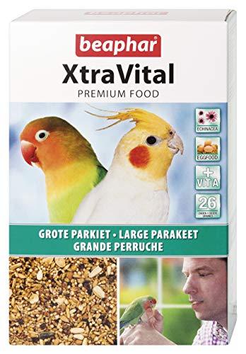 BEAPHAR – XTRAVITAL – Alimentation pour grande perruche – Contient des fruits, graines et œufs – Renforce le système immunitaire – Procure un beau plumage et maintient en bonne santé – 1kg