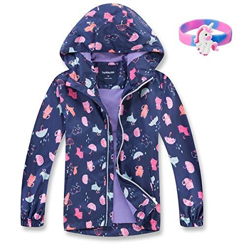 MGEOY Girls Rain Jackets Lightweight Waterproof Hooded Rain Coats Windbreakers for Kids Blue 5/6