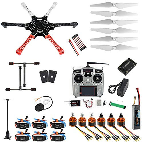 Qwinout Assembled RTF Full Set 2.4G 10 Channel Remote APM 2.8 GPS Compass F550 Hexacopter DIY Drone Combo (No Manual)