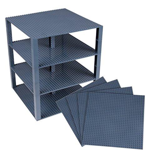 Strictly Briks Stapelbare Premium-Bauplatten - inkl. neuen verbesserten Bausteinen mit 2 x 2 Noppen - kompatibel mit Allen großen Marken - Set aus 4 Platten - je 25,4 x 25,4 cm - Dunkelgrau