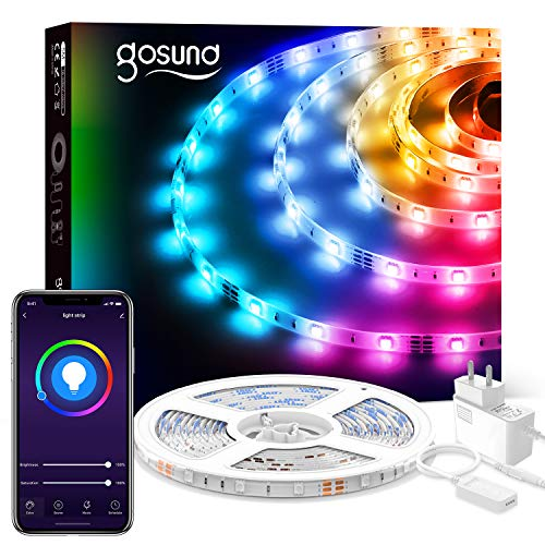 Gosund 5M Tira de LED Alexa WiFi, Luces Led Rgb Inteligente Control Remoto por App, Sincronizar con Música, Compatible con Alexa y Google Home, Strip Leds Múlticolores para Habitación