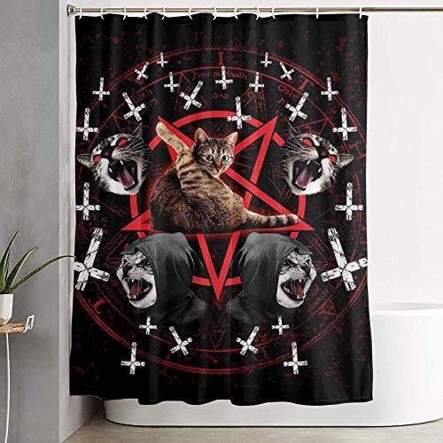 CDFD Cat Pentagram zwart metalen douchegordijn Duurzame badkamergordijnen, 120X180cm