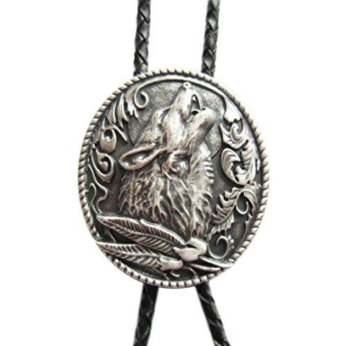 Bolo Tie Hulender Wolf met veren, echt zilveren kussen, Bolotie
