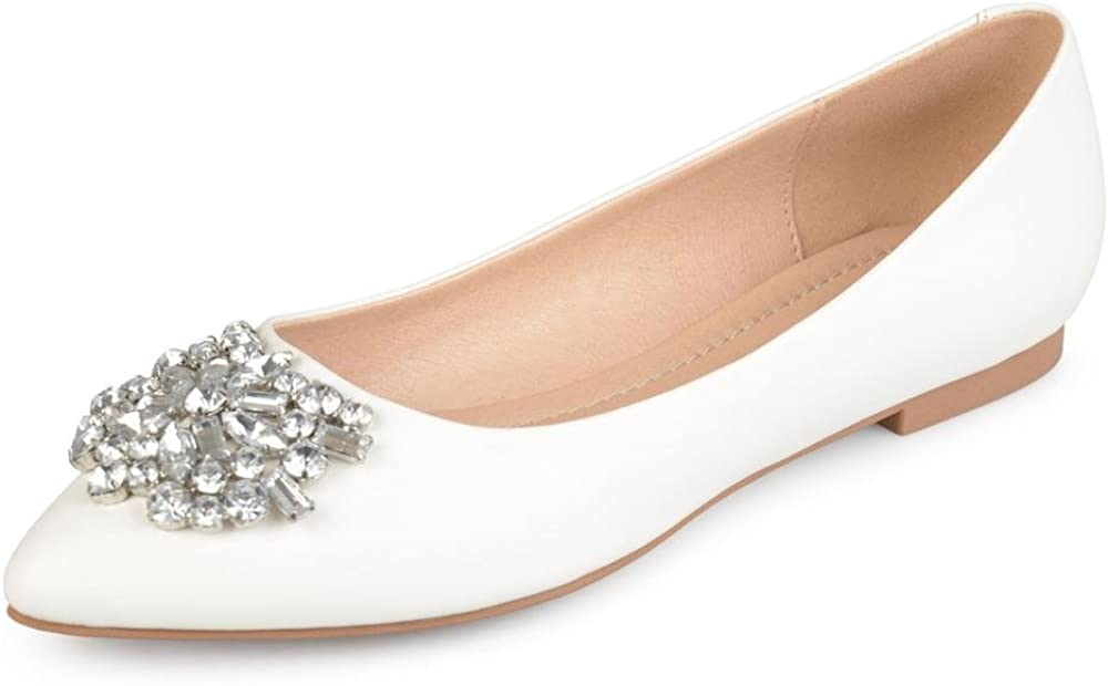 Brinley Co. Womens online shop Faux Leather New color Jewel Pointed Flats Toe