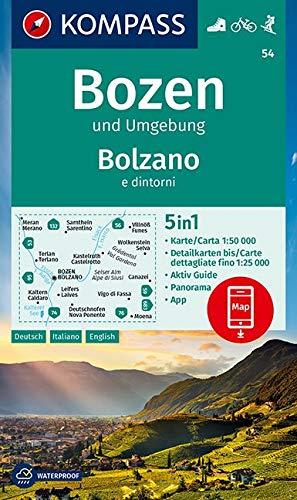 KOMPASS Wanderkarte Bozen und Umgebung, Bolzano e dintorni: 5in1 Wanderkarte 1:50000 mit Panorama, Aktiv Guide und Detailkarten inklusive Karte zur ... Skitouren. (KOMPASS-Wanderkarten, Band 54)