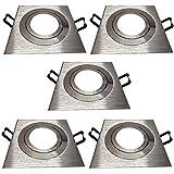 pack de 5 AROS empotrable ojo de buey cuadrado aluminio, diametro de corte 75mm, apto para bombilla dicroica LED, casquillo porcelana GU10 incluido
