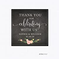 Andaz Press Chalkboard Floral Party Wedding Collection, Square Label Stickers, Personalized Thank You for Celebrating With Us, 40-Pack, Custom Name by Andaz Press