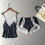 Malata Pijama de mujer de encaje y patchwork de satén, juego de pijamas sin mangas de verano, juego de regalo para la casa de belleza de noche Dark Blue Set L