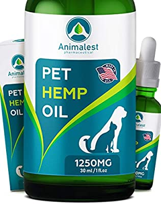 Animalest - Hemp Oil Dogs Cats - Separation Anxiety, Arthritis, Stress, Seizures, Sleep, Tension - Remedy for Chronic Pains Problems - Omega 3,6,9 Pet Herbal Vitamins - 6in1 Calming Drops - 1250 Mg from Animalest