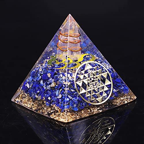 JIUXIAO Joyería pirámide lapislázuli Natural generador de energía curación/protección EMF y decoración de meditación