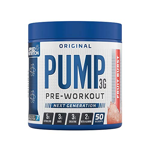 Applied Nutrition Pump 3G Pre Workout Energy Drink Focus & Performance, Creatine Monohydrate, AAKG, Citrulline, Beta Alanine, Caffeine Vitamin B Gold Complex, 375g Standard, 50 Servings (Fruit Burst)