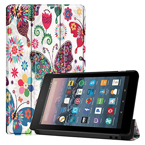 Weichunya For Amazon Fire 7 Inch (7th/8th Gen, 2017/2019 Release) Owl Butterfly Flower Dandelion Eiffel Tower Design Smart Tablet Case Trifold Stand With Auto Sleep/Wake Function (PATTERN : 4)