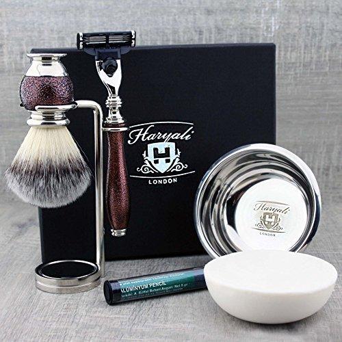 5-delige complete en gebruiksklare scheerset voor mannen met: synthetisch scheerborstel, Mach3 scheermes, scheerstandaard en scheerschaal van roestvrij staal en zeep.