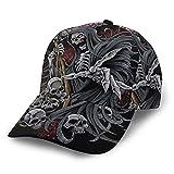 HARLEY BURTON Gorra de béisbol unisex con estampado de calavera de la muerte y empalme ajustable para el Hip Hop sombrero de sol negro