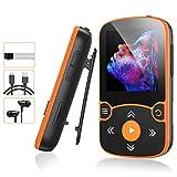 AGPTEK MP3 Bluetooth 5.0 avec Clip 32Go, Lecteur MP3 Baladeur Sport Portable HiFi, Lecteur Musique avec Bouton Volume, Brassard, Radio FM/Podomètre/Enregistreur Vocal, Externe Jusqu'à 128Go-Orange