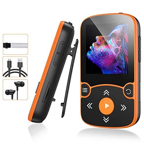 AGPTEK MP3 Bluetooth 5.0 avec Clip 32Go, Lecteur MP3 Baladeur Sport Portable HiFi, Lecteur Musique avec Bouton Volume, Radio FM/Podomètre/Enregistreur Vocal, Externe Jusqu'à 128Go-Orange