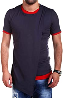 Mogogo Men's Irregular Hem Pleated Short Sleeve Basic Slim Fit Sweatshirt