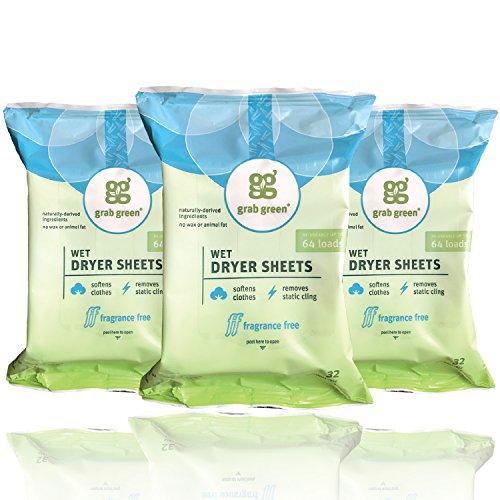Grab Green Natural Wet Dryer Sheets, Reusable & Compostable, 64 Loads (3-Pack), Fragrance Free,...