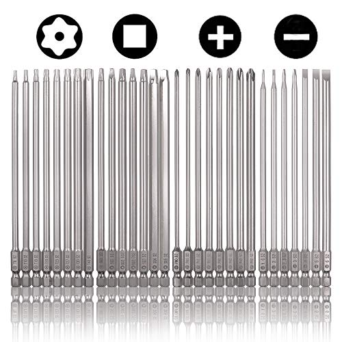 Rocaris 30 Pack 1/4 Inch Hex Shank Long Magnetic Screwdriver Bits Set 6 Inch Power Tools(Slotted+Cross+Square +Torx)