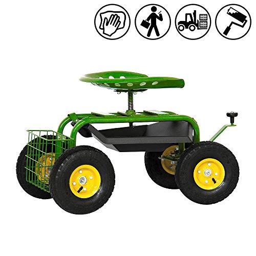 Froadp Gartenwagen Rollsitz Mobile Hocker Kunststoff Kniebänke 86x44x50cm Gartenhelfer Rollwagen Sichere Last 150KG für Garten oder bei der Auto Pflege (Typ C)