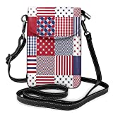 Bolsa bandolera pequeña USA Americana Patchwork rojo blanco y azul edredón teléfono celular monedero titular de la tarjeta bolsa con correa ajustable para las mujeres