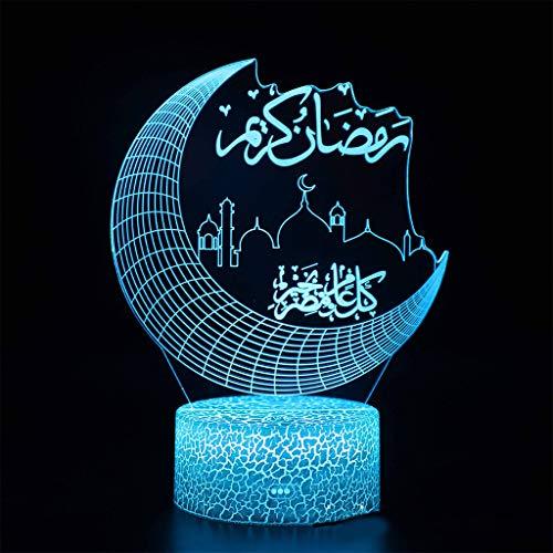 Abcidubxc Eid Mubarak - Lámpara de noche para escritorio, diseño de luna, para decoración de dormitorio o bar, equipo de iluminación