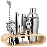 HALOVIE Kit Cocktail 10 Pezzi In Acciaio Inossidabile Completo Professionale con Supporto in Legno 350 ML Shaker Jigger Bar Spoon ect per Drink Margarita Manhattan
