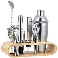 halovie kit cocktail 10 pezzi in acciaio inossidabile completo professionale con supporto in legno 350 ml shaker jigger bar spoon ect per drink margarita manhattan