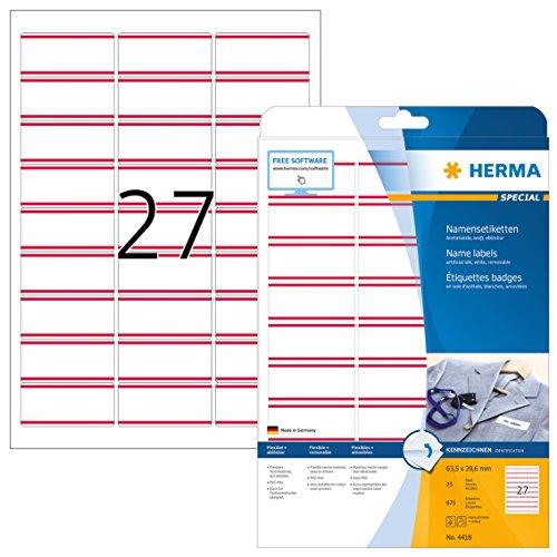 HERMA 4418 Namensetiketten DIN A4 ablösbar (63,5 x 29,6 mm, 25 Blatt, Acetatseide) selbstklebend, bedruckbar, rückstandsfrei abziehbare Namensaufkleber, 675 Klebeetiketten, weiß
