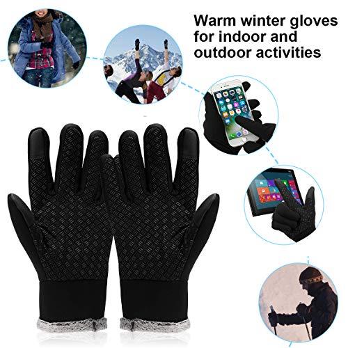 Lzfitpot Unisex Winterhandschuhe Touchscreen Warm Fahrradhandschuhe,Wasserdicht, Winddicht & rutschfest, Schwarz, Gr.- S - 6