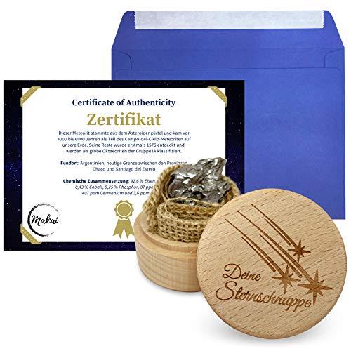 Makai echter Meteorit Sternschnuppe mit Echtheits-Zertifikat Geschenkkarte Box individueller personalisierbarer Karte mit Widmung (Holzbox und Zertifikat)
