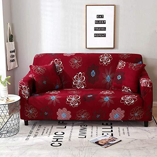 XCVBSofa hoes rode kleur sofa covers voor woonkamer bloemen elastische bank hoes banken hoes 1/2/3/4 zits, kleur 5