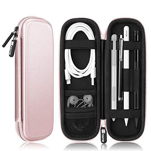 Fintie Hülle für Apple Pencil (1. / 2. Generation) - Kunstleder Stifthalter für Samsung, Huawei, Surface Pro Stylus Pen Tasche Schutzhülle mit Ablagefach für S Pen & USB Kabel, Roségold