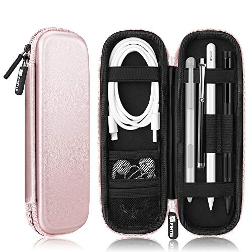 Fintie Holder Case for Apple Pencil 1st 2nd Gen, PU Leather Carrying Bag Sleeve with Mesh Pocket for iPad Pro, iPad 2019 Pencil, Samsung Stylus, Logitech Crayon, Surface Pen, Wacom Pen, Rose Gold