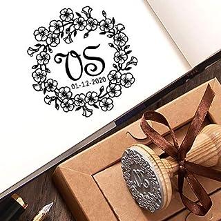Timbri Personalizzati Matrimonio Save the Date Ghirlanda Fiori di Lino