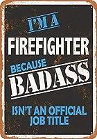 2個 8 x12メタルサイン-Badass消防士-ヴィンテージルック