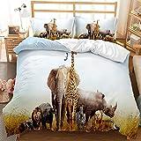 MOZHETE Boys Elephant Bedding Set 3 Piece Giraffe Zebra Queen Size for Kids Girls Boys Leopard Cheetah Rhinoceros Deer Wild Animal Duvet Cover Set, No Comforter, 1 Duvet Cover + 2 Pillowcases
