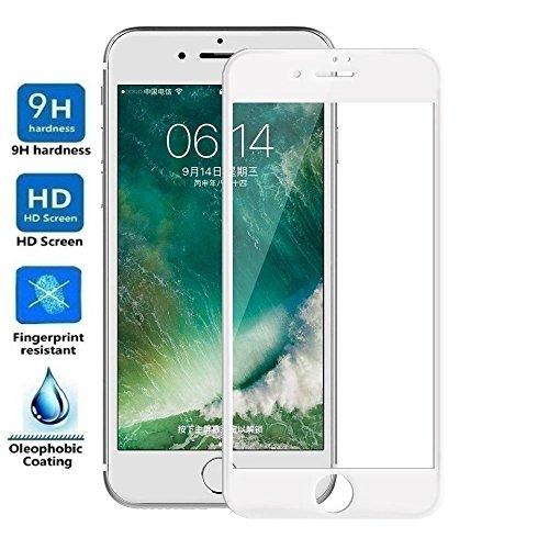 REY Protector de Pantalla Curvo para iPhone 8 Plus/iPhone 7 Plus, Blanco, Cristal Vidrio Templado Premium, 3D / 4D / 5D