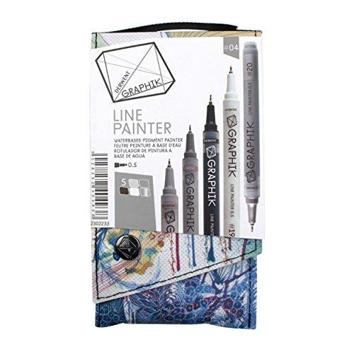 Derwent Graphite Pens, Graphik Line Painter Colored Pens, Palette No.4, 5 Pack (2302233)